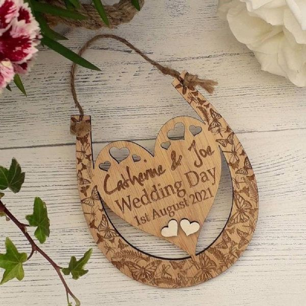 Personalised Wedding Day Heart Horseshoe, Rustic Barn Wedding Keepsake Gift